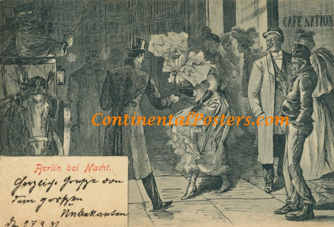 Berlin bei Nacht 1901 Cafe Nation, C 101  poster cp
