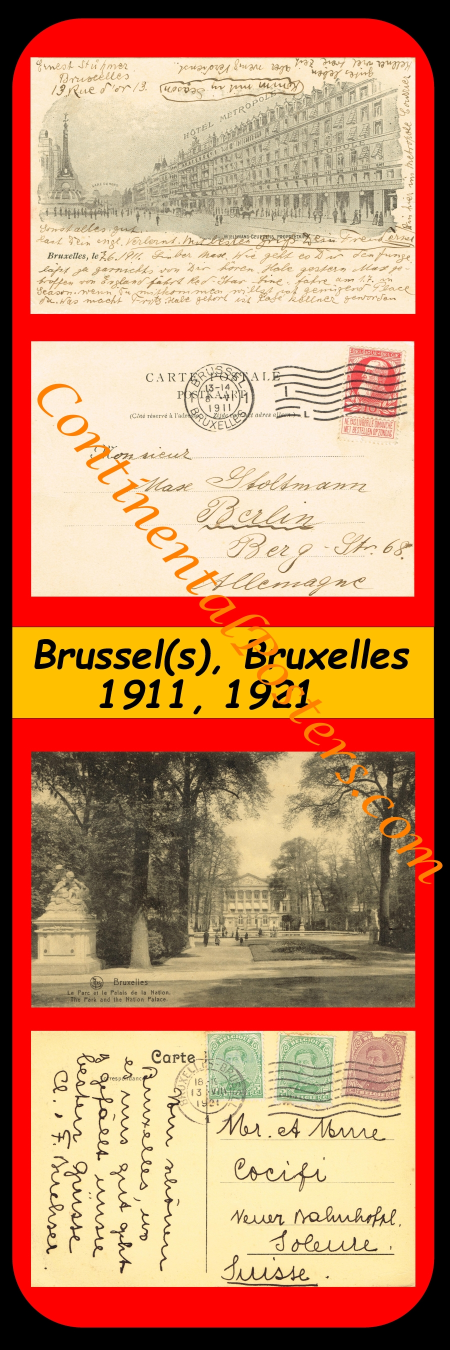 Brussels, Brussel , Bruxelles 1911 and 1921 C 142, S 1 - 3