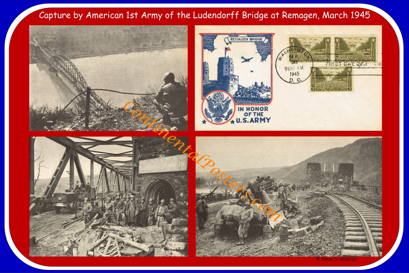 Remagen bridge WW 2, US Army poster  CO 61