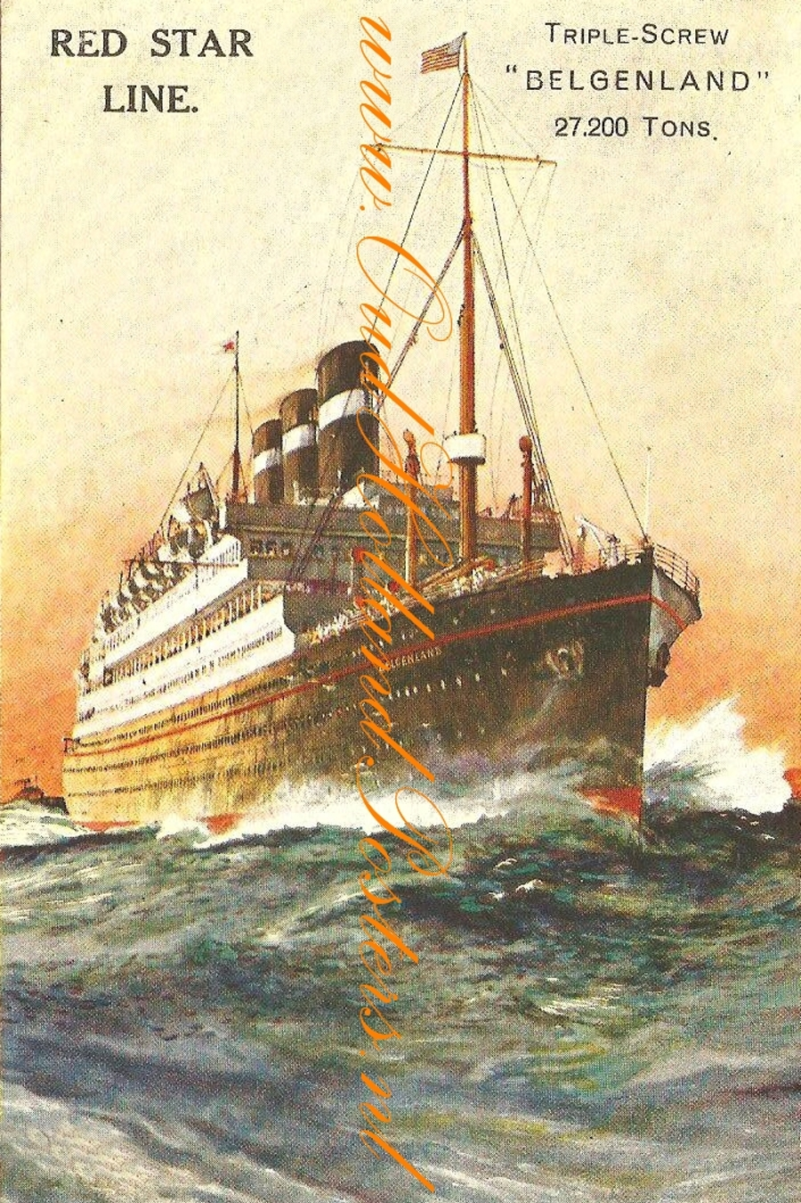 Steamship Belgenland, Red star poster