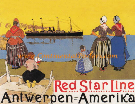 Red Star leaving Antwerpen Anvers 3 4 CA 120 poster