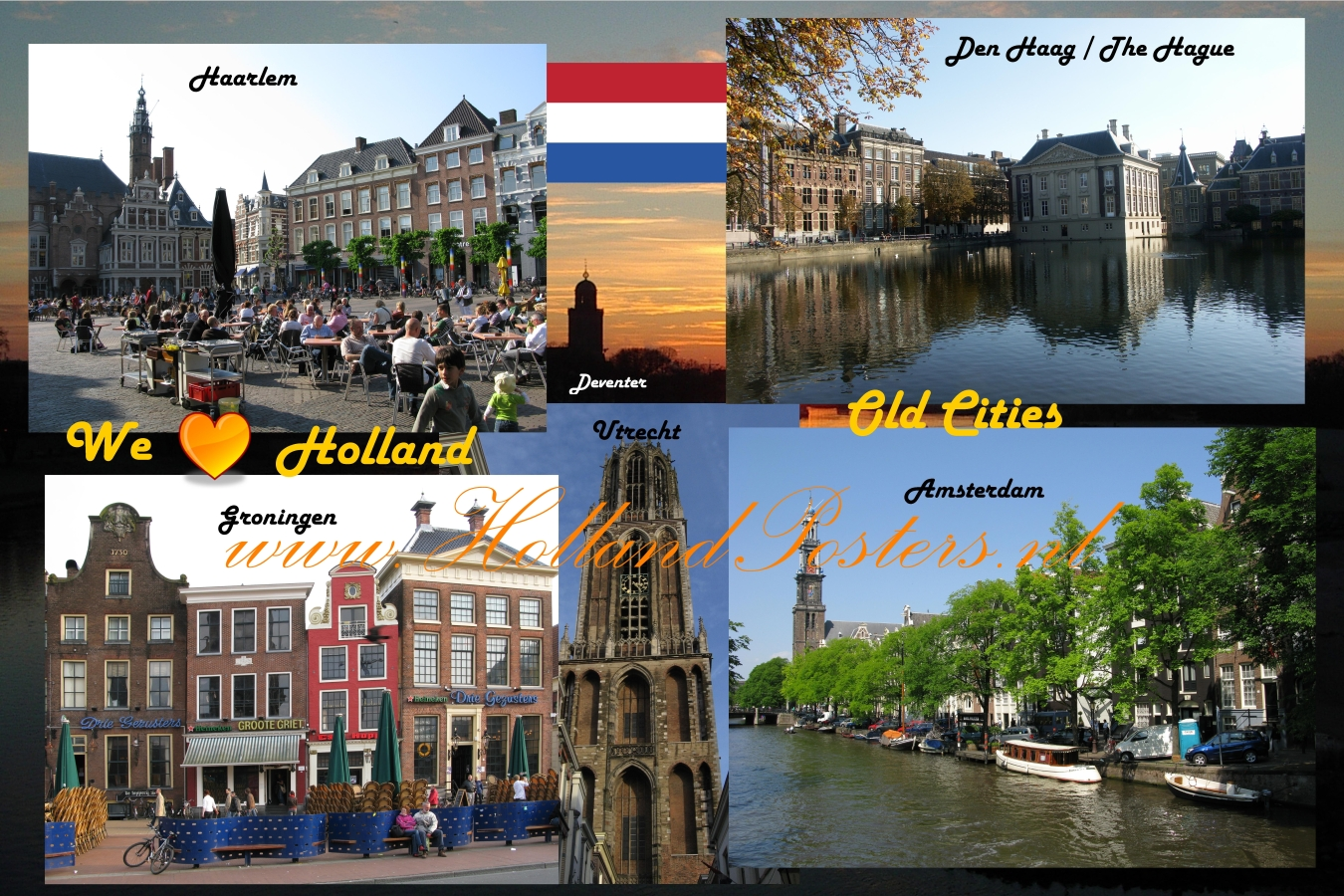Holland old Cities , Haarlem, The Hague,, Groningen, Deventer, Utrecht and Amsterdam